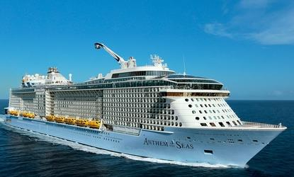 Royal Caribbean International's Anthem of the Seas at sea with the North Star capsule deployed.