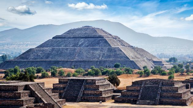 Panorama of Pyramid of the Sun. Teotihuacan. Mexico. View from the Pyramid of the Moon. (photo via f9photos / iStock / Getty Images Plus)