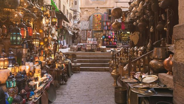 Khan el-Khalili is a major market in the Islamic district of Cairo. The bazaar district is one of Cairo's main attractions for tourists and Egyptians (photo via Mekhamer / iStock / Getty Images Plus)