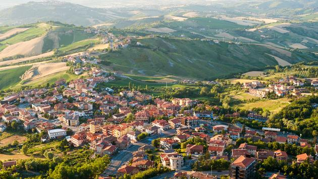 Modern San Marino Suburban districts view from above (photo via taratata / iStock / Getty Images Plus)