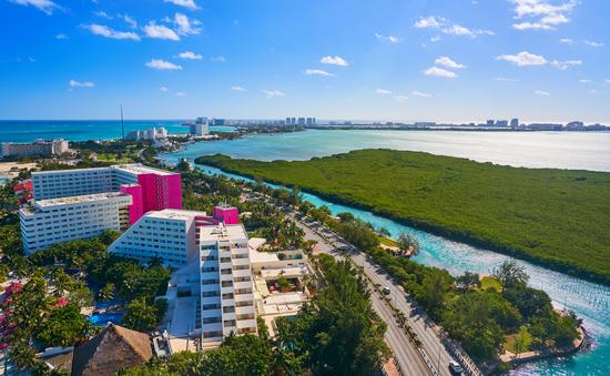 An aerial view of Cancun's Hotel Zone at Playa Linda.