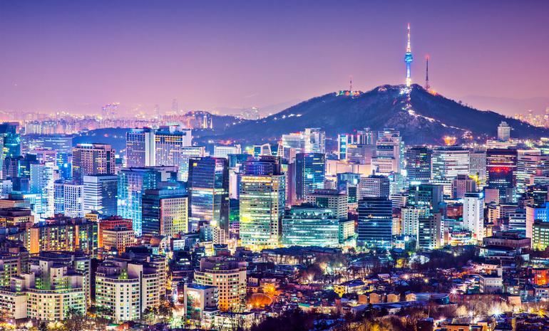 Seoul, South Korea city skyline nighttime skyline.  (photo via Reabirdna / iStock / Getty Images Plus)