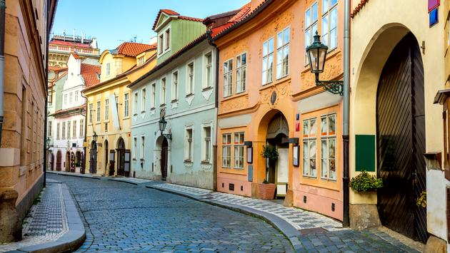 Old Street in Prague at the morning, downtown, Czech Republic, European travel (Photo via  a_Taiga / iStock / Getty Images Plus)