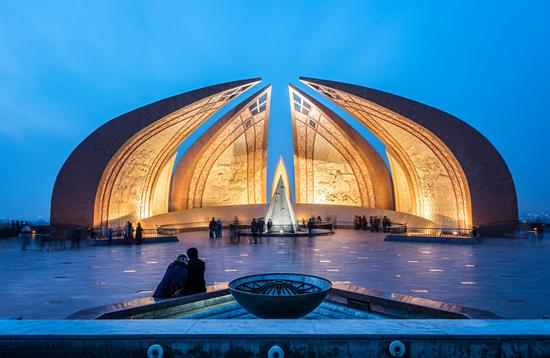 The Pakistan Monument is a landmark in Islamabad, which represents four provinces of Pakistan. (SAKhanPhotography / iStock / Getty Images Plus)
