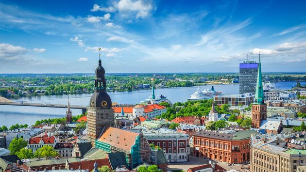 Aerial view of Riga center from St. Peter's Church, Riga, Latvia (photo via f9photos / iStock / Getty Images Plus)