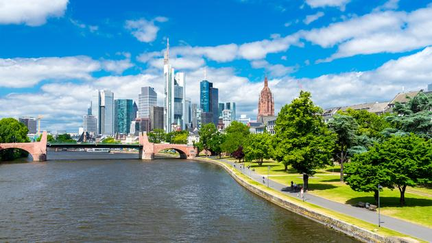The skyline of Frankfurt am Main, city of the Euro. Germany (photo via jotily / iStock / Getty Images Plus)