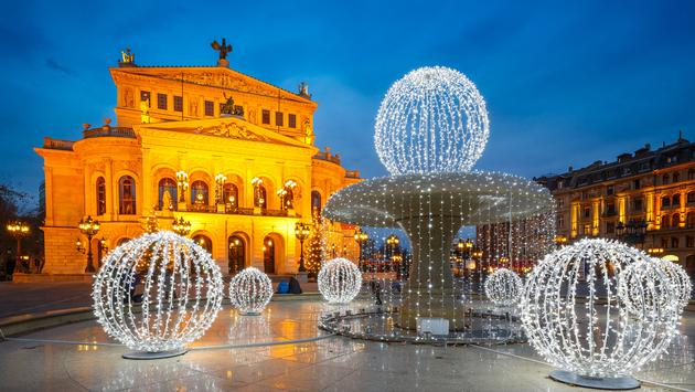 Frankfurt Alte Oper at Cristmastime, Germany (photo via sborisov / iStock / Getty Images Plus)