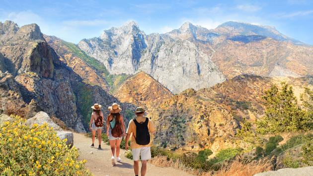 Family with backpacks on hiking trip in the mountains. High mountains view with cloudy sky. Kings Canyon National Park, Fresno, California, USA (photo via MargaretW / iStock / Getty Images Plus)