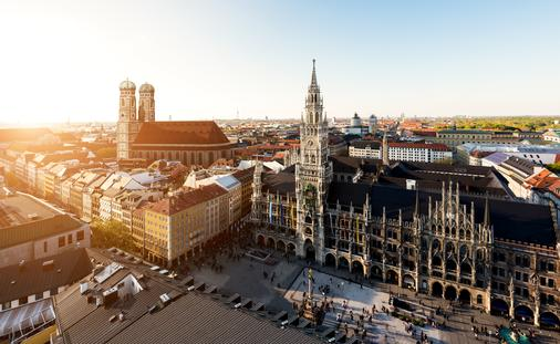 Aerial view on Munich old town hall or Marienplatz town hall and Frauenkirche in Munich, Germany (Prasit Rodphan / iStock / Getty Images Plus)