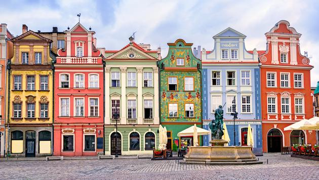 Colorful renaissance facades on central square in Poznan, Poland (Photo via Xantana / iStock / Getty Images Plus)