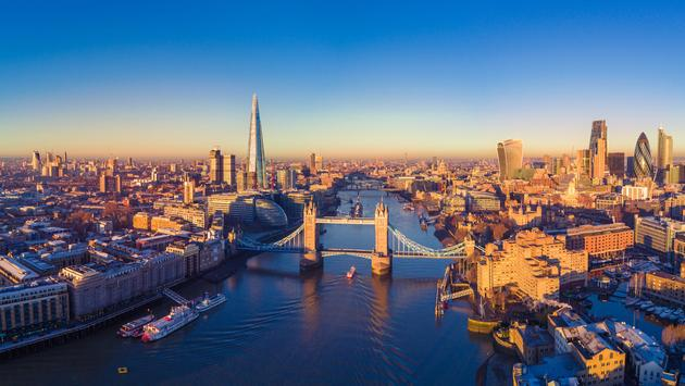 Aerial panoramic cityscape view of London and the River Thames, England, United Kingdom (photo via heyengel / iStock / Getty Images Plus)