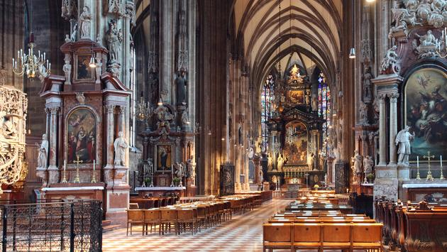 Stephens cathedral interior in Vienna, Austria (photo via TomasSereda / iStock / Getty Images Plus)