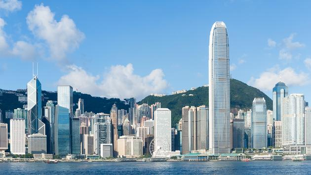 Hong Kong view from Victoria Harbour.  (photo via leungchopan/iStock/Getty Images Plus)