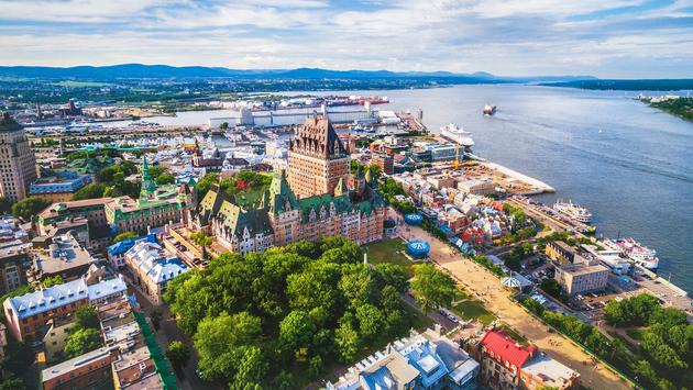 Quebec City and Old Port Aerial View, Quebec, Canada (Photo via rmnunes / iStock / Getty Images Plus)