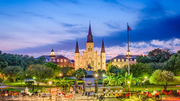 New Orleans, Louisiana, USA at St. Louis Cathedral and Jackson Square. (Sean Pavone / iStock / Getty Images Plus)