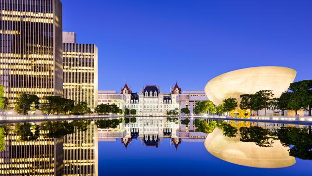 Albany, New York, USA at the New York State Capitol. (photo via SeanPavonePhoto/iStock/Getty Images Plus)