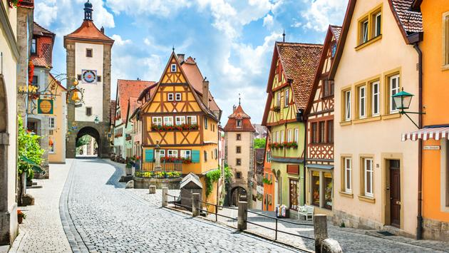 View of the famous historic town of Rothenburg ob der Tauber in summer, Franconia, Bavaria, Germany (photo via bluejayphoto/iStock/Getty Images Plus)