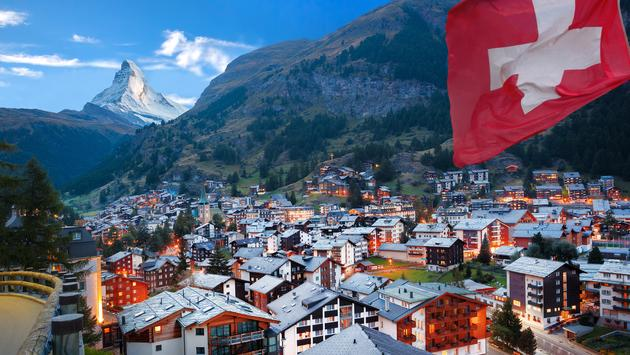 Famous Zermatt village with the peak of the Matterhorn in the Swiss Alps (photo via extravagantni / iStock / Getty Images Plus)
