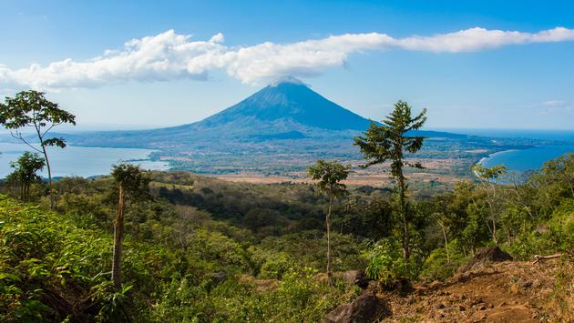 View of volcán Concepción and Ometepe island in Nicaragua from the slope of volcán Maderas (Alvaro Faraco / iStock / Getty Images Plus)