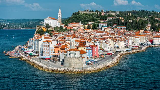 Mediterranean town of Piran on the Slovenian Coast (photo via arrfoto / iStock / Getty Images Plus)