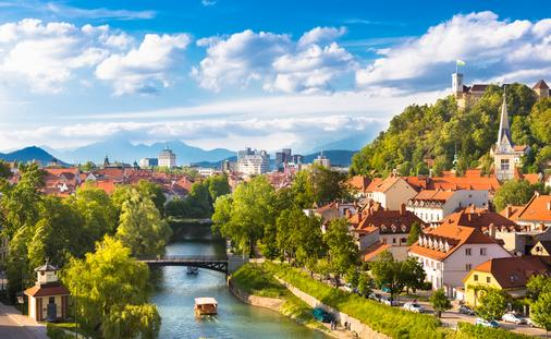 Cityscape of the Slovenian capital Ljubljana. (photo via kasto80 / iStock / Getty Images Plus)