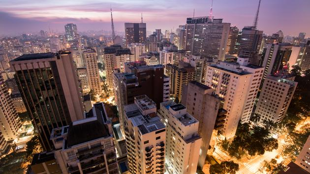 Night Time View of Sao Paulo City in Brazil. (photo via dabldy / iStock / Getty Images Plus)