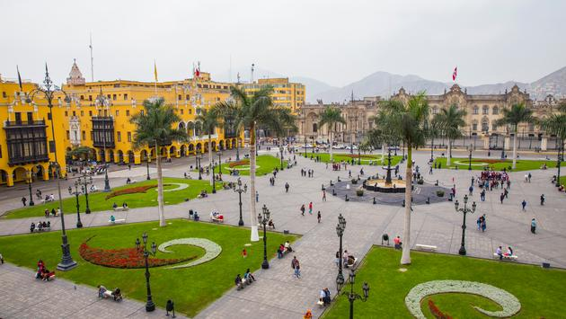 The Plaza de Armas in Lima, Peru. Photographed from a higher perspective.(Photo via JPosvancz / iStock / Getty Images Plus)