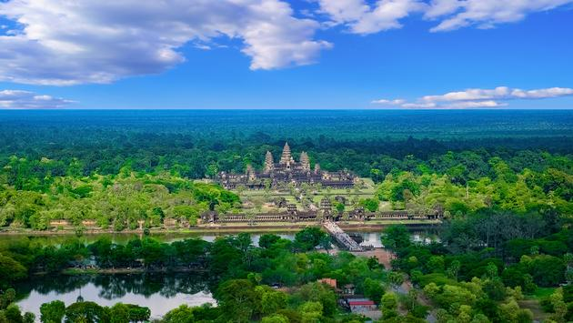 Aerial view of Angkor Wat Temple, Siem Reap, Cambodia, Southeast Asia. UNESCO World Heritage Site. Photo via 12ee12 / iStock / Getty Images Plus)
