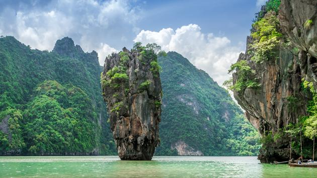 Cloudy day at James Bond Island in Phang Nga Bay, Phuket, Thailand (Photo via chrisinthai / iStock / Getty Images Plus)