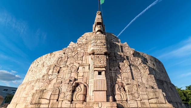Wide angle shot of Homeland Monument, Paseo Montejo, Merida Yucatan (photo via Jedamus_Lichtbilder / iStock / Getty Images Plus)