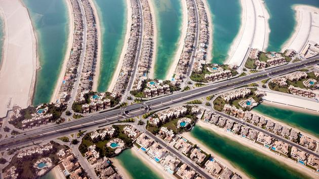 Helicopter view of The Palm Jumeirah in Dubai. (photo via MaslennikovUppsala / iStock / Getty Images Plus)