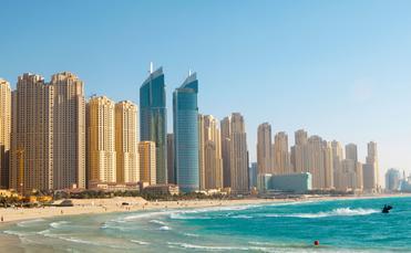 Beach in Dubai. Panoramic view. (photo via Marrfa / iStock / Getty Images Plus)