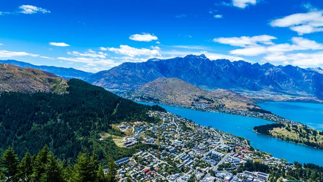 Aerial view of Queenstown Valley, New Zealand (filipefrazao / iStock / Getty Images Plus)