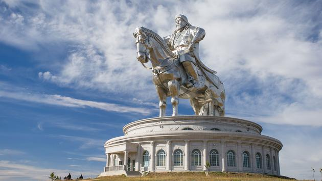 The world's largest equestrian statue. The leader of Mongolia, Genghis Khan. (photo via Streluk / iStock / Getty Images Plus)