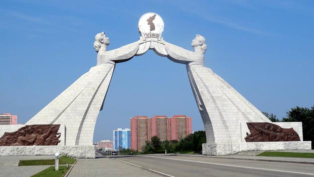 Monument to the Three-Point Charter for National Reunification in Pyongyang, North Korea (Matej Hudovernik / iStock / Getty Images Plus)