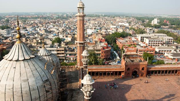 An aerial view of the Jama Masjid mosque overlooking Old Delhi, India (photo via yellowcrestmedia / iStock / Getty Images Plus)