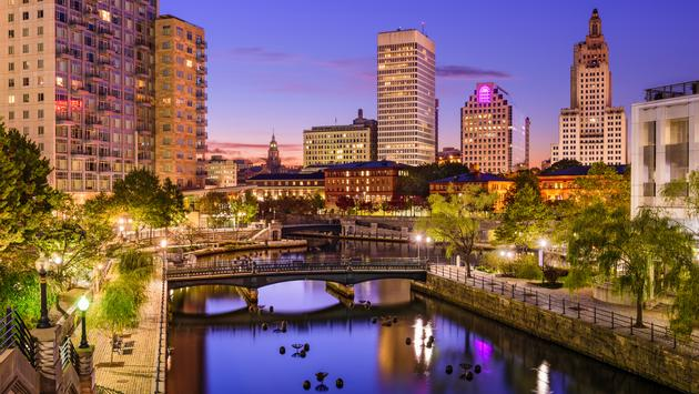 Providence, Rhode Island, USA park and skyline. (photo via SeanPavonePhoto / iStock / Getty Images Plus)