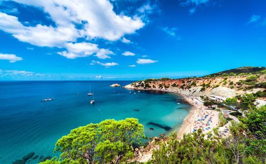 Picturesque Cala d'Hort beach. Ibiza, Balearic Islands. Spain (Photo via amoklv / iStock / Getty Images Plus)