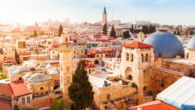 Old City of Jerusalem with the aerial view. View of the Church of the Holy Sepulchre, Israel.