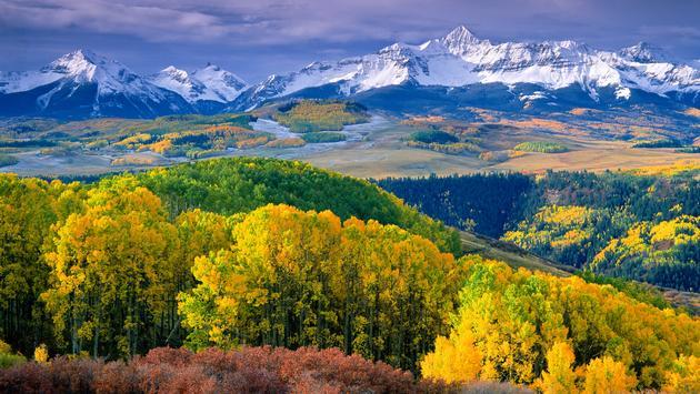 Autumn aspens and Wilson Peak in the San Miguel Range - southwestern Colorado. (Phoot via sneffelsclimber / iStock / Getty Images Plus)
