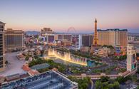 Aerial view of the Las Vegas strip.