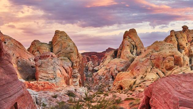 Scenic landscape in Valley of the Fire national park at sunset, Nevada, USA (encrier / iStock / Getty Images Plus)