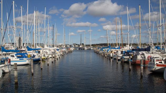 Photo of the sailing boat harbour in Aalborg, Denmark. (photo via olli0815/iStock/Getty Images Plus)
