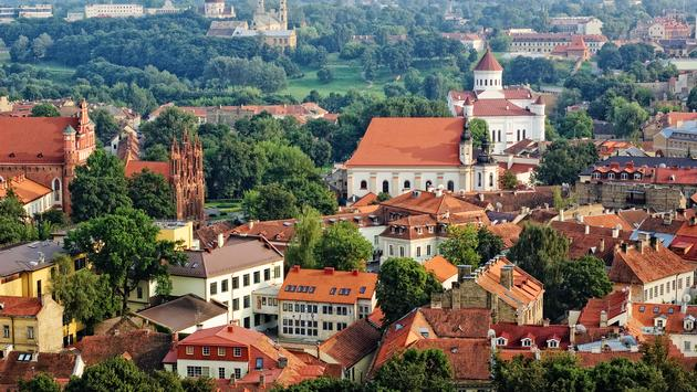Bird's eye view of Vilnius old town from Gediminas' Tower, Lithuania (photo via iiokua / iStock / Getty Images Plus)