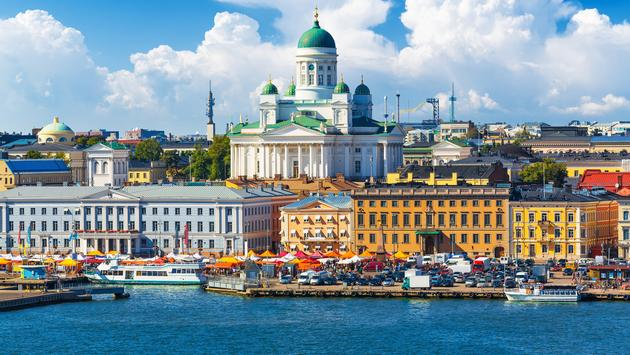 Market Square at the Old Town pier in Helsinki, Finland.  (photo via scanrail/iStock/Getty Images Plus)