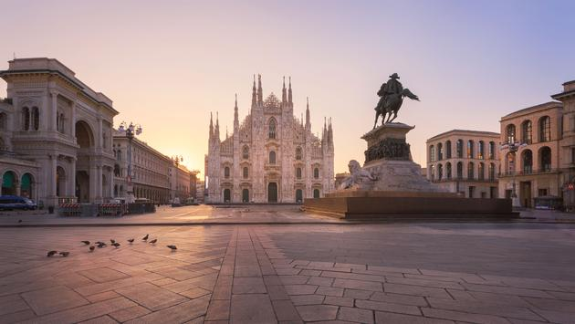 Duomo , Milan gothic cathedral at sunrise,Europe.Horizontal photo with copy-space. (photo via Robertobinetti70 / iStock / Getty Images Plus)