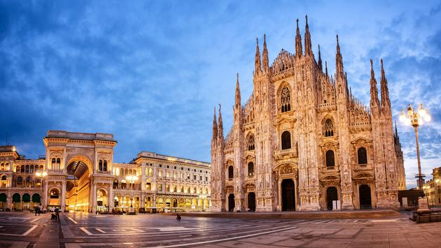 Milan Cathedral, Duomo di Milano, one of the largest churches in the world (photo via Xantana / iStock / Getty Images Plus)