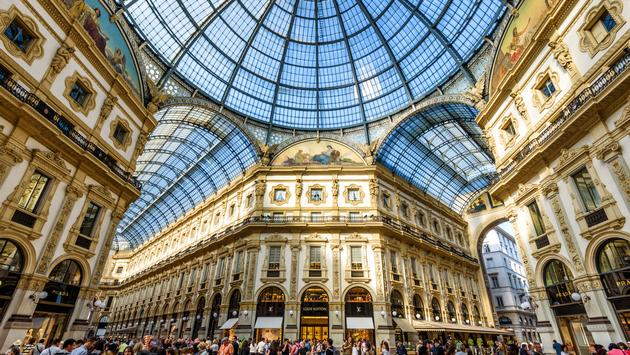 MILAN, ITALY - MAY 16, 2017: The Galleria Vittorio Emanuele II on the Piazza del Duomo in central Milan. This gallery is one of the world's oldest shopping malls. (photo via scaliger / iStock / Getty Images Plus)