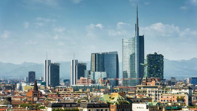 Milan skyline with modern skyscrapers in Porto Nuovo business district in Italy (photo via scaliger / iStock / Getty Images Plus)