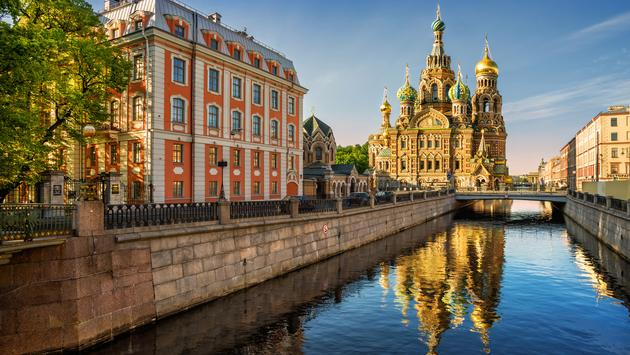 The Cathedral of Our Savior on Spilled Blood with reflection (photo via yulenochekk / iStock / Getty Images Plus)